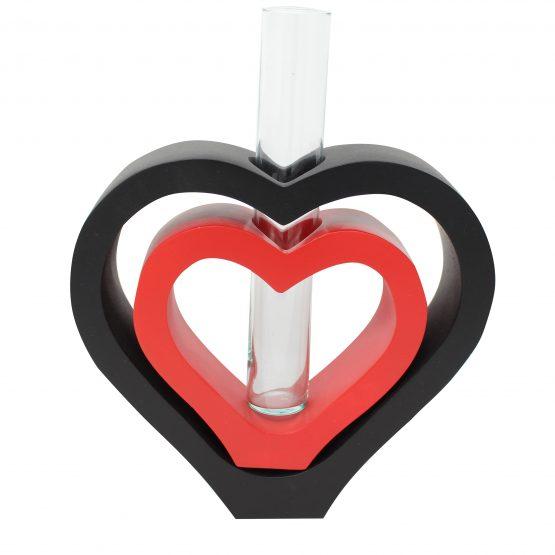Vase 2 in 1 Herz inkl. Glaseinsatz schwarz/rot