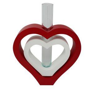 Vase 2 in 1 Herz inkl. Glaseinsatz rot/weiß