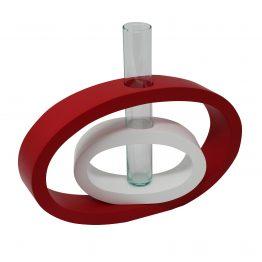 Vase 2 in 1 Doppeloval aus Holz inkl. Glaseinsatz, Rot/Weiß