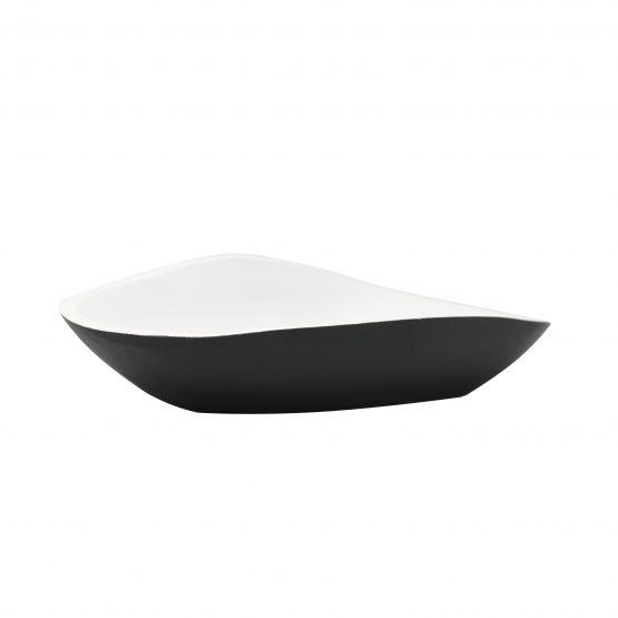 Schale Muschel Holzschale schwarz/weiß