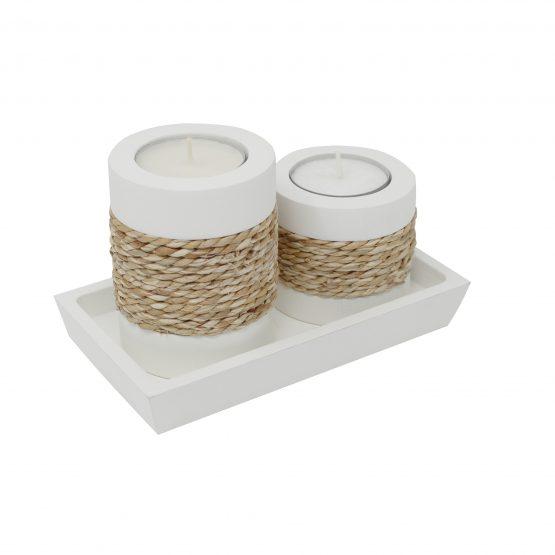 Teelichthalter Duo Step Weiß