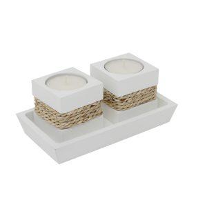 Teelichthalter Duo Weiß