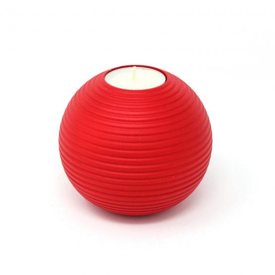 Teelichthalter Murmel Rot