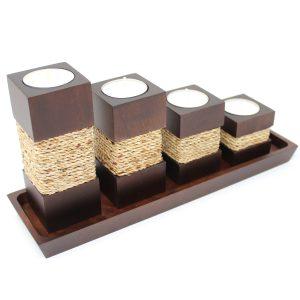 Teelichthalter Step Braun