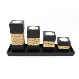 Teelichthalter Step Schwarz