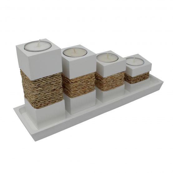 Teelichthalter Step Weiß