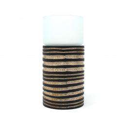 Teelichthalter Windlicht Waagi Schwarz/Braun