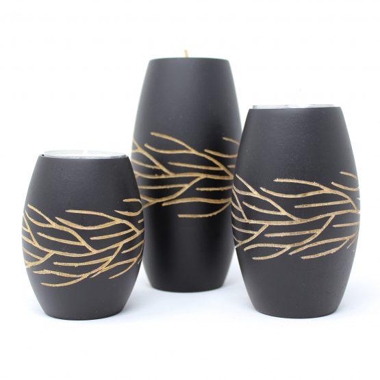 Teelichthalter Wurzel schwarz