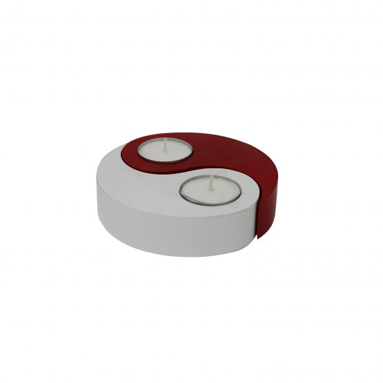 Teelichthalter Ying Yang Rot/Weiß