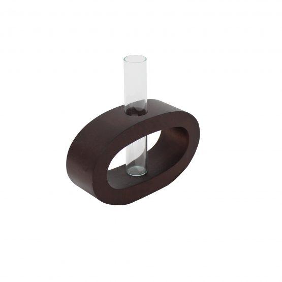 Vase Oval (klein) inkl. Glaseinsatz braun