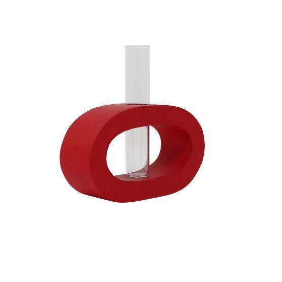 Vase Oval (klein) inkl. Glaseinsatz rot
