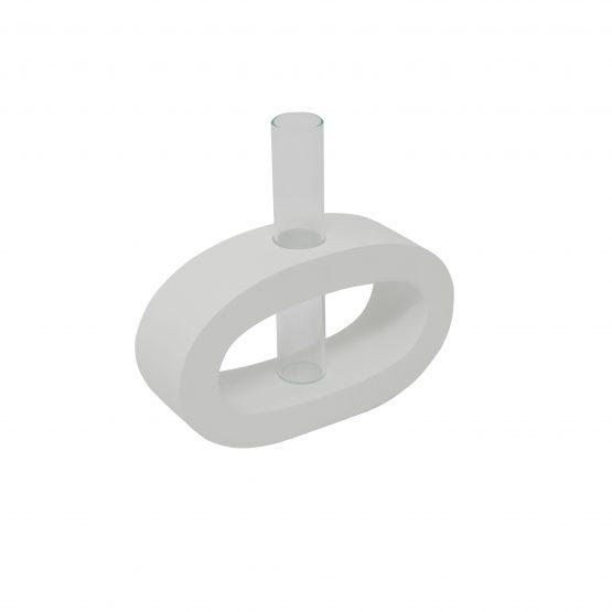 Vase Oval (klein) inkl. Glaseinsatz weiß