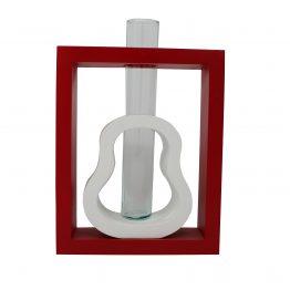 Vase 2 in 1 Kombi inkl. Glaseinsatz rot/weiß