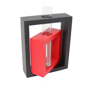 Vase 2 in 1 Rechteck inkl. Glaseinsatz schwarz/rot