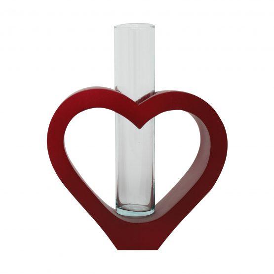 Vase Herz inkl. Glaseinsatz rot
