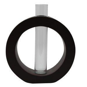 Vase Kreis inkl. Glaseinsatz braun
