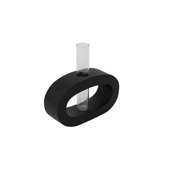 Vase Oval (klein) inkl. Glaseinsatz schwarz