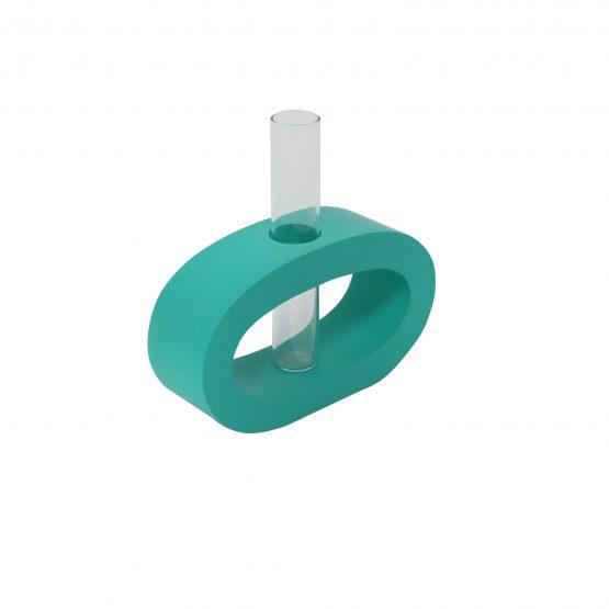 Vase Oval (klein) inkl. Glaseinsatz türkis