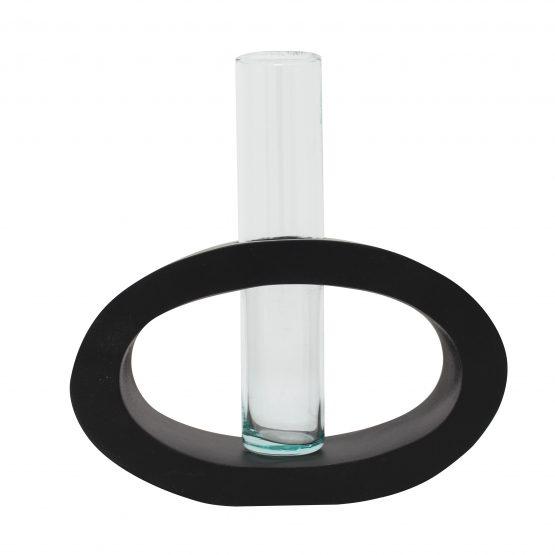 Vase Oval (mittel) inkl. Glaseinsatz schwarz