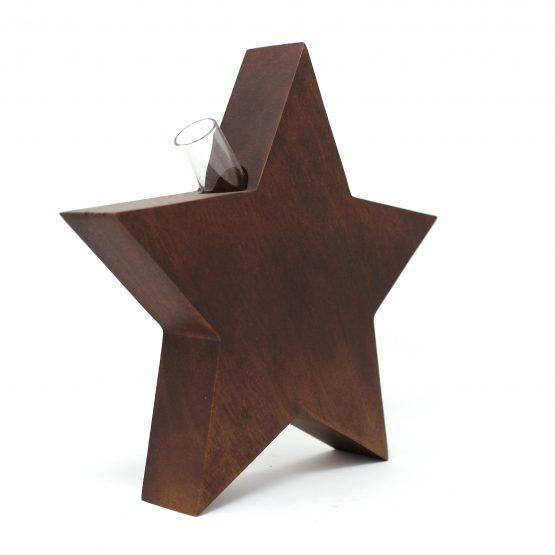Vase Stern inkl. Glaseinsatz braun