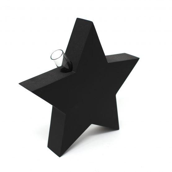 Vase Stern inkl. Glaseinsatz schwarz
