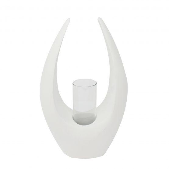 Vase Wing inkl. Glaseinsatz weiß